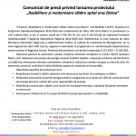COMUNICAT DE PRESA PROIECT REABILITARE SI MODERNIZARE SPITAL